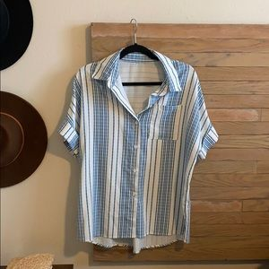 Women's Casual Stylish V Neck Button Down